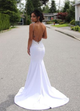 White V Neck Sleeveless Lace Wedding Dresses Mermaid Bridal Gown