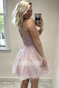 Fashion Misty Rose V-Neck A-Line Tulle Prom Dress Short Dress With Appliques - EVERISA