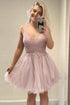 Fashion Misty Rose V-Neck A-Line Tulle Prom Dress Short Dress With Appliques