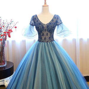 Scoop Neck Short Sleeve Lace Prom Dresses Beaded Evening Dresses