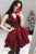 Elegant Burgundy V-Neck Sleeveless Tiered Satin Prom Dress Mini Dress With Lace - EVERISA