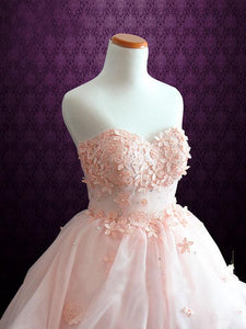 Pink Strapless Sweetheart Homecoming Dresses Appliques Cocktail Dresses