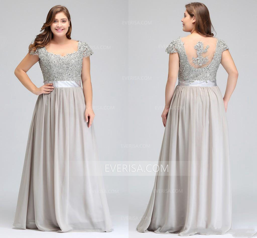 Grey Cap Sleeve Chiffon A Line Plus Size Prom Dresses Cheap Evening Dresses