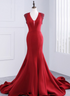 Red V Neck Open Back Mermaid Satin Long Prom Dresses With Beaded