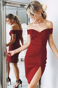 Sexy Burgundy Slim-line Off Shoulder Satin Prom Dress Side Slit Short Dress - EVERISA