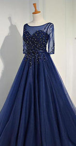 Navy Blue Short Sleeve A Line Long Prom Dresses Beaded Evening Dresses