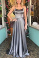 Sexy Gray Open Back Sleeveless Satin Evening Dress Long Prom Dresses - EVERISA