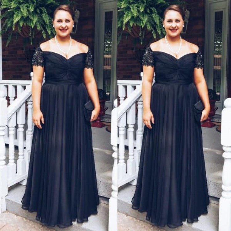 Black Cap Sleeve Sweetheart Plus Size Bridesmaid Dresses Long Prom Dresses