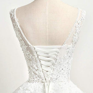 Cheap Lace Appliques Wedding Dresses Sleeveless A Line Bridal Gown