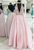 Pink Deep V Neck Halter Sleeveless A Line Satin Prom Dresses With Beaded