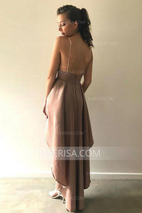 Unique Rosy Brown High-Low Backless Satin Cocktail Dress Cheap Prom Dress - EVERISA