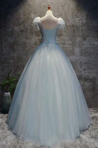 Blue V Neck Cap Sleeve Prom Dresses Appliques A Line Tulle Evening Dresses