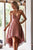 New Blush Pink High Low Backless Lace Prom Dress Cheap Mini Dress - EVERISA