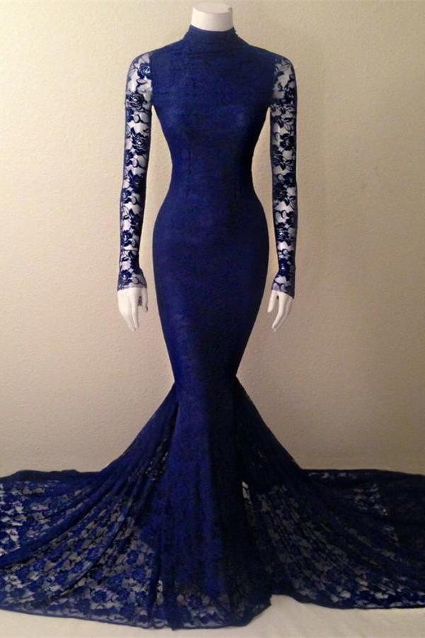 210bca834476 Blue High Neck Long Sleeve Prom Dresses Mermaid Lace Evening Dresses ...
