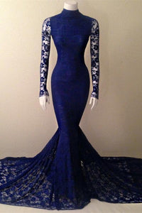 Blue High Neck Long Sleeve Prom Dresses Mermaid Lace Evening Dresses