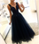 Navy Blue V Neck Sleeveless A Line Tulle Long Prom Dresses With Lace