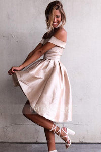 Elegant Light Pink Off Shoulder High Low Satin Evening Dress Short Prom Dress - EVERISA