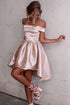 Elegant Light Pink Off Shoulder High Low Satin Evening Dress Short Prom Dress