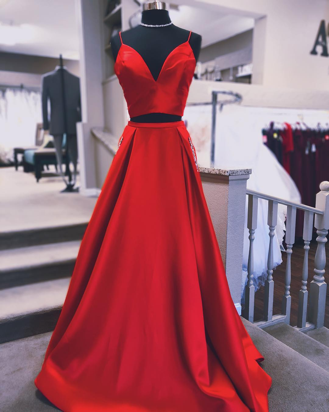 f2953667542 Red Two Pieces Sleeveless Prom Dresses A Line Long Evening Dresses ...