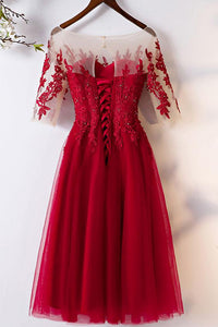 Red Short Sleeve A Line Homecoming Dresses Lace Appliques Cocktail Dresses