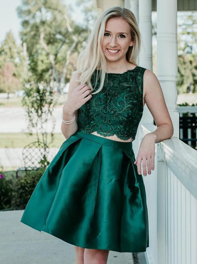 59f64b3eca Emerald Green Two Pieces Beaded Homecoming Dresses Short Cocktail Dresses