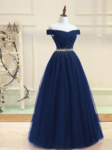 Elegant Navy Blue Off Shoulder Empire Tulle Evening Dress Cheap Prom Dress With Rhinestone - EVERISA