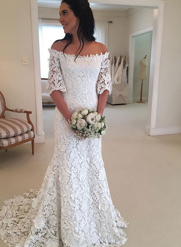 d0c8a71aaa0e Strapless Half Sleeve Lace Wedding Dresses Off Shoulder Mermaid Bridal Gown