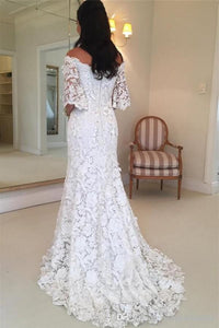 Strapless Half Sleeve Lace Wedding Dresses Off Shoulder Mermaid Bridal Gown