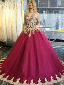 Luxury Sweetheart Strapless Prom Dresses Lace Appliques Quinceanera Dresses
