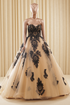 Black Lace Appliques A Line Wedding Dresses Sweetheart Bridal Gown