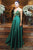 Emerald Green Spaghetti Straps Sleeveless A Line Long Prom Dresses With Beading