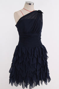 Navy Blue One Shoulder Tiered A Line Chiffon Short Bridesmaid Dresses