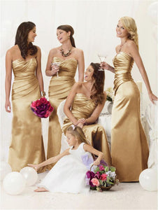 Gold Strapless Sweetheart Mermaid Long Bridesmaid Dresses With Pleats