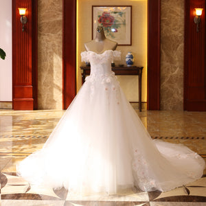 White Off Shoulder Sleeveless Appliques Wedding Dresses Beaded Bridal Gown