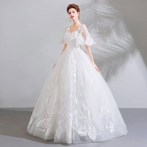 V Neck Short Sleeve Wedding Dresses A Line Lace Appliques Bridal Gown