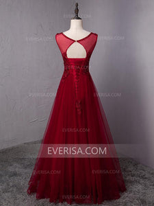 Gorgeous Burgundy Empire Backless Tulle Evening Dress Prom Dress With Appliques - EVERISA