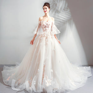 Off Shoulder Lace Appliques Wedding Dresses A Line Long Bridal Dresses