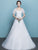 Round Neck Short Sleeve A Line Wedding Dresses Lace Appliques Bridal Gown