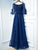 Blue Off Shoulder Short Sleeve Prom Dresses Lace Beaded Evening Dresses