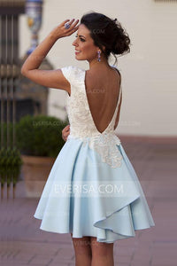 New Pale Blue Cap Sleeve Open Back Chiffon Prom Dress Homecoming Dress With Lace