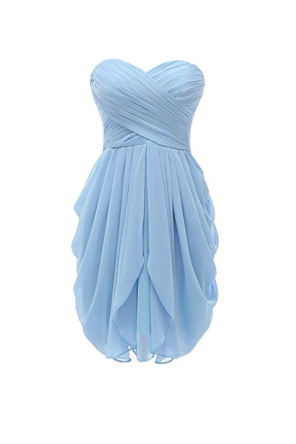 Simple Pale Blue Sweetheart Strapless Chiffon