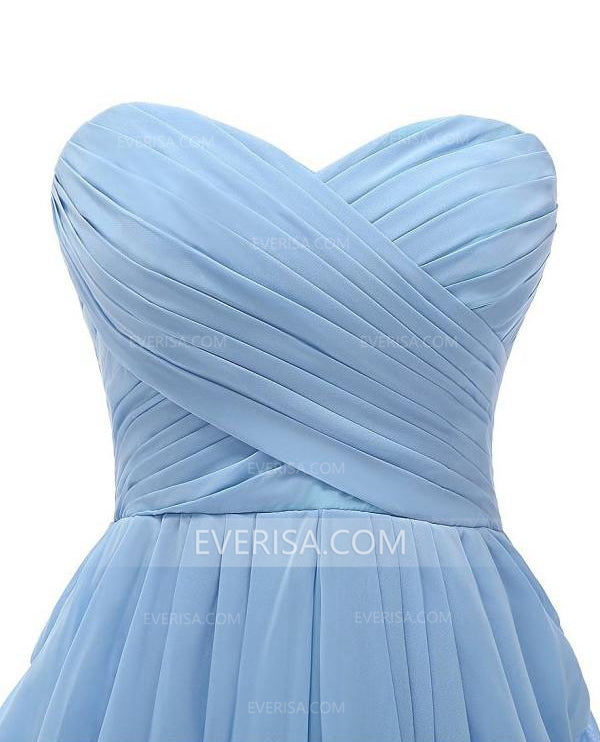 5e971cecd27 Simple Pale Blue Sweetheart Strapless Chiffon Prom Dress Short Bridesmaid  Dresses - EVERISA