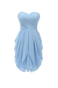 Simple Pale Blue Sweetheart Strapless Chiffon Prom Dress Short Bridesmaid Dresses - EVERISA