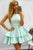 Cheap Sleeveless Ruffles Satin Homecoming Dresses A Line Mini Dresses