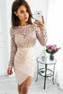 Elegant Round Neck Long Sleeve Lace Homecoming Dresses Short Cocktail Dresses