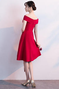 Simple Red Off Shoulder Sleeveless Homecoming Dresses Short Cocktail Dresses