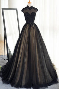 Black High Neck Sleeveless Lace Prom Dresses A Line Evening Dresses