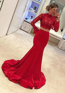 Red Two Pieces Long Sleeve Satin Prom Dresses Mermaid Evening Dresses