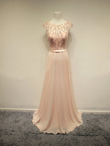 Blush Pink Cap Sleeve Beaded Prom Dresses A Line Long Evening Dresses