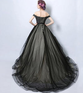 Simple Black Off Shoulder Sleeveless Wedding Dresses Long Bridal Gown